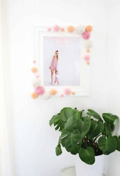 Pom-Pom Photo Frame DIY - A Beautiful Mess