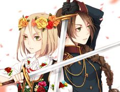 Nyotalia versions of Poland and Lithuania - Art by Yugake (mrnmrm) | THEY LOOK SO BADASS