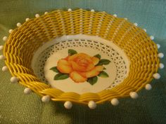 VINTAGE SMIT FRUITBOWL yellow with rose by HoushamAntiques on Etsy