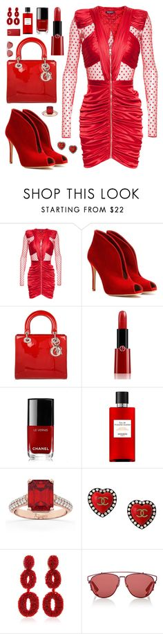 """RED"" by fashionwwonderland ❤ liked on Polyvore featuring Balmain, Gianvito Rossi, Christian Dior, Giorgio Armani, Chanel, Allurez and Charlotte Olympia"