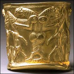 Golden vase with winged monsters.  Marlik region, Iran 14th-13th centuries BCE.