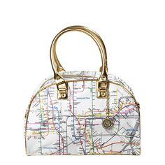 Fab.com | Map Bowler Bag White Gold Trim  @Sara Jones you would carry this.
