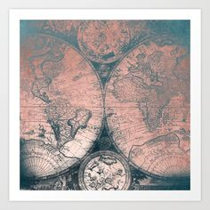 Buy Vintage World Map Rose Gold and Storm Gray Navy Art Print by naturemagick. Worldwide shipping available at Society6.com. Just one of millions of high quality products available.