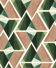 Geometric surface print and pattern ideas and inspiration. I love this repeat triangle pattern. The greens, blues and sandy pink colour go together really nicely.
