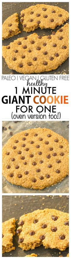 Healthy 1 MINUTE GIANT cookie for ONE! Tested two ways (soft and chewy or chewy and crispy!), this single serve cookie is secretly healthy with NO butter, oil, flour or white sugar! {vegan, gluten free, paleo recipe}- thebigmansworld.com