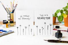 Handdrawn Postcard 'Jij verdient een bloemetje' A6 door ninamaakt