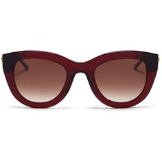 Thierry Lasry 'Cupidity' metal temple contrast corner acetate cat eye... (565 AUD) ❤ liked on Polyvore featuring accessories, eyewear, sunglasses, red, clear acetate glasses, cat eye glasses, cateye glasses, red cat eye sunglasses and acetate sunglasses