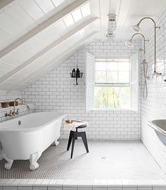 White on White Attic Bathroom