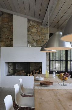 & cozy fireplaces rustic modern industrial: this feel for our dining/office space.rustic modern industrial: this feel for our dining/office space. Dining Room Fireplace, Cozy Fireplace, Fireplace Design, Fireplace Stone, Fireplace Modern, Simple Fireplace, Fireplace Ideas, Fireplace Candles, Craftsman Fireplace