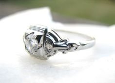 Art Deco Diamond Engagement Ring. Fiery Old European by Franziska, $628.00