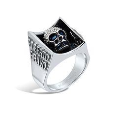 Barbados - Silver White Sapphire Deep-Set Skull Ring #topazusa #robertobravo #inspiring #jewelry #silver #rings #mens