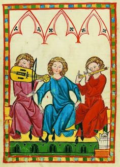 Medieval music performed on recorders, vielle, mandolin and early percussion instruments.  http://fristcenter.org/images/sized/content/uploads/audio_tours/Medieval_Music-325x450.jpg