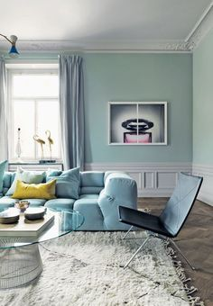Pastel blue in Swedish home