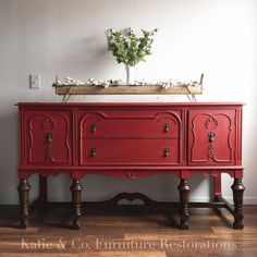 Buffet Painted in Holiday Red is part of furniture Restoration White - Loving this buffet restyling y Katie & Co Furniture Restorations! Painted in Holiday Red Milk Paint Red Painted Furniture, Repainting Furniture, Painting Wooden Furniture, Refurbished Furniture, Colorful Furniture, Repurposed Furniture, Cheap Furniture, Kitchen Furniture, Vintage Furniture