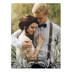 Elegant Botanical Wedding Save the Date Postcard - floral style flower flowers stylish diy personalize