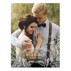 Elegant Botanical Wedding Save the Date Postcard - postcard post card postcards unique diy cyo customize personalize