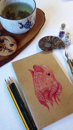 Items similar to Dumbo Octopus - Flapjack Devil Fish - Cephalpod Art - Moleskine Sketchbook - Art Journal on Etsy, Octopus Drawing, Octopus Painting, Animal Drawings, Cute Drawings, Flapjack Octopus, Dumbo Octopus, Squid Tattoo, Moleskine Sketchbook, Pretty Animals