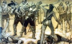 "1675-1678- King Philip's War splits the Wampanoag people into those opposing & supporting the new English colonists.  Metacomet (known to the English as ""King Philip"") is supported by his wife's sister, Weetamoo, chief of the Pocasset tribe, against the English.  After defeat, their tribes will be nearly exterminated; Metacomet's heir & wife will be sold into slavery in the Caribbean.  On the other side is Awashonks, chief of the Sakonnet Wampanoag, one of the few to receive amnesty."