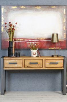 Console d'entrée en bois et métal. Ce meuble BORNEO est fabriqué à partir de bois massif de mindi, brossé pour un aspect authentique, et en métal pour les pieds et les poignées des 3 tiroirs. La console est un meuble pratique pour une entrée ou un salon, et permet d'y ranger quelques affaires et d'y poser des objets de décoration : miroir, plante, lampe... Largeur de la console : 140 cm - profondeur 46 cm. La console BORNEO apportera une touche moderne à votre déco intérieur. Authentique, Decoration, Ranger, Entryway Tables, Cabinet, Storage, Furniture, Home Decor, Drawers