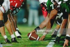 Stock Photo : American football line of scrimmage, ground view (Digital Enhancement)