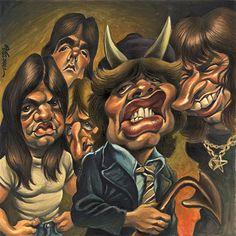 metal music charicatures  | Caricaturas de musicos famosos acdc