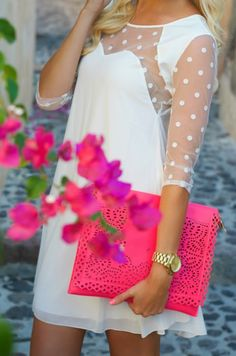 Pretty white dress and hot pink clutch