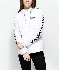 28458b628fa7 Vans Kastle MTE White Checker Windbreaker Jacket Vans Jacket