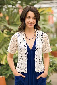 This lace crochet cardigan is eye-catching.