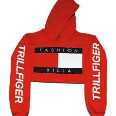 Soto Militia Fashion Killa x Trillfiger Crop Hoodie (Red) ($42) ❤ liked on Polyvore featuring tops, hoodies, sweaters, crop, shirts, sweat, cropped hoodie, red top, crop shirts and red hoodie