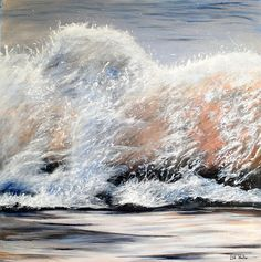 Wave breaking seascape painting. Sea Art. Original Acrylic on canvas. Breaking wave original art with light and movement.