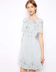 Frock and Frill Embellished Skater Dress - Good colour and style, too expensive