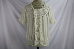 Anthropologie Ivory Button Down Career Blouse By Joie Size L Ruffles #Anthropologie #ButtonDownShirt #Career