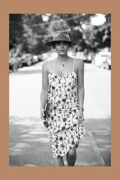 Brooke Testoni wearing Bassike hawaiian dress and Lack of Color hat street style