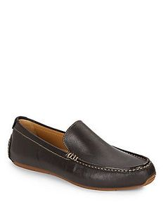 Cole Haan Somerset Leather Loafers - Seal Brown - Size 10