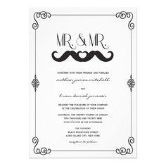 Moustache Mustache Love Classic Vintage Scrolls Gay Wedding Custom Invitation by fatfatin