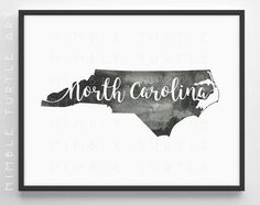 North Carolina State Outline Watercolor  -  Typography Printable Download
