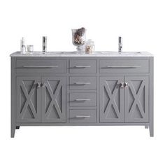 Image Gallery Website Shop for Wimbledon Collection Espresso Finish Maple Wood and Marble Double Vanity with Marble