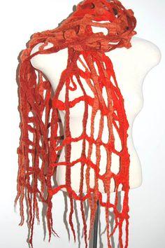 Felted Shawl Felt Scarf Cobweb Scarf Orange by LocallySewnTextiles