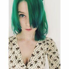 Green Hair.  Crazy Colour: Peacock Blue