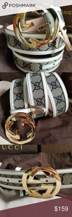 😍Authentic Gucci Belt White Trim Tan Monogram 😍Authentic Gucci Belt White Trim Tan Monogram Print with Gold GG Buckle. Nice!! Comes with tags, dust bag and box. Fast same day shipping via USPS. All reasonable offers considered. Gucci Accessories Belts
