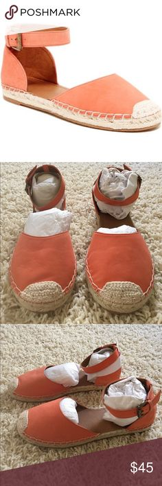 """Espadrilles leather sandals Brand New orange leather sandals. Sizing: True to size. M=medium width Round toe with crochet inset detail. Adjustable ankle strap with buckle closure. Espadrille midsole. Approx. 0.25"""" heel. Material: leather upper, manmade sole. Nordstrom Shoes Espadrilles"""