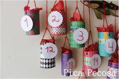 Calendario de Adviento con tubos de cartón reciclados / Advent calendar with recycled cardboard tubes