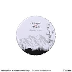 Personalize Mountain Wedding Favor Candy Tin