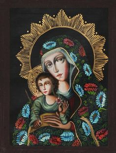 Religious Original Oil Painting Signed by Artist - Virgin Mary with the Boy | NOVICA