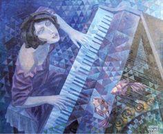 Igor Holas - Pianist, 2010, oil on canvas, 100x125cm, www.igorholas.cz