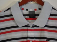 Nike Dri fit Golf Polo Shirt Mens Size XL Stripes Short Sleeve Gray Red White #Shopping #eBay #Endingsoon http://r.ebay.com/9hDdtB