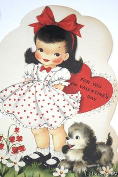 Vintage Valentines Day Card - Red Polka Dot Dress Girl and Puppy - Unused Hallma. Valentine Images, My Funny Valentine, Vintage Valentine Cards, Valentines For Kids, Vintage Greeting Cards, Vintage Holiday, Valentine Day Cards, Vintage Postcards, Vintage Images
