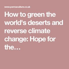 How to green the world's deserts and reverse climate change: Hope for the…