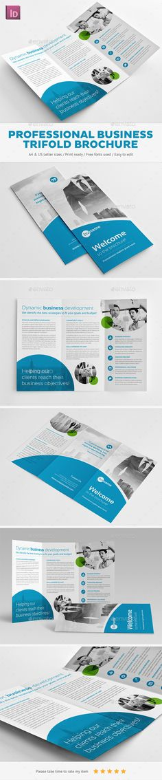 Professional Business Trifold Brochure Corporate Template InDesign INDD. Download here: http://graphicriver.net/item/professional-business-trifold-brochure/11558562?s_rank=25&ref=yinkira