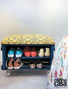 Como fazer uma sapateira-banco com um caixote de feira?